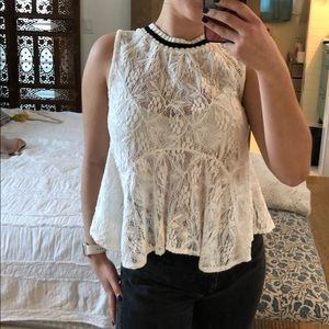 Free people white lace blouse with sweater collar